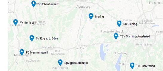 Die Mannschaften in der Landesliga Südwest 19/20, mit einem Klick sehen sie die gesamte Karte; Quelle: Google-Mapsga-Mannschaft 18/19; Foto: Jens Homann